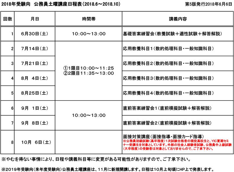 【2018年度受験】土曜講座のお知らせ(2018.6月~10月)